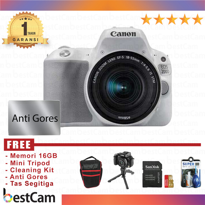 harga Canon eos 200d kit 18-55 is stm putih - free accessories Tokopedia.com