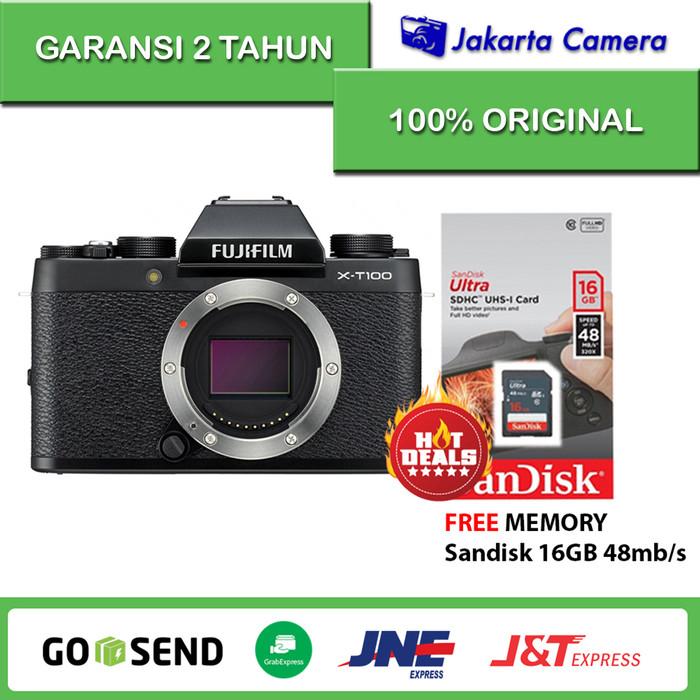 harga Fujiflm xt-100 / fuji xt100 body only - black free sandisk 16gb Tokopedia.com
