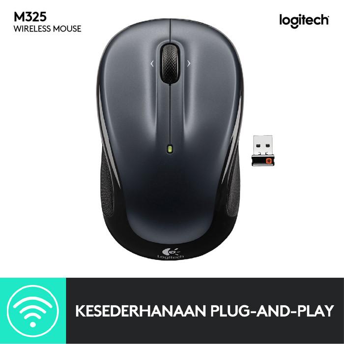 Foto Produk Mouse Wireless Logitech M325 Dark Grey Original - DARK GREY dari Aquarius Official