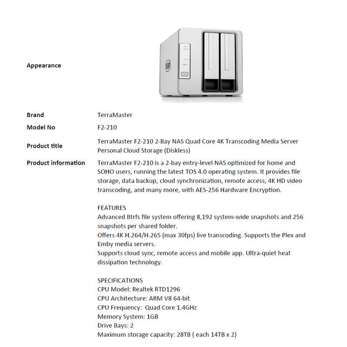 Jual TerraMaster F2-210 2-Bay NAS Quad Core 4K Transcoding Media Server -  DKI Jakarta - TERRA MASTER official | Tokopedia