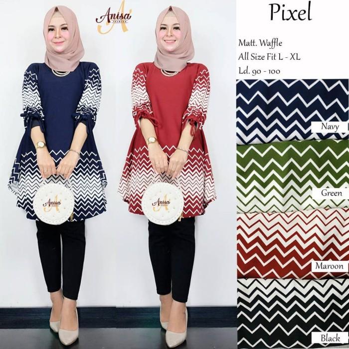 Foto Produk Baju Atasan Wanita Muslim Blouse Pixel Tunik Anisa dari myfashion