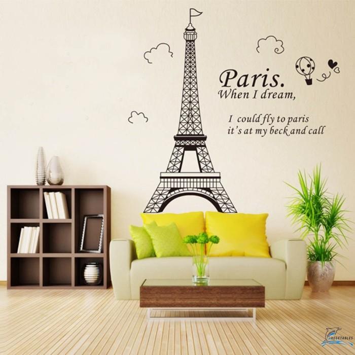 Wallpaper Dinding Kamar Gambar Menara Eiffel  jual stiker dinding motif menara eiffel paris bahan vinyl untuk kamar tidur jakarta barat kerudung123 tokopedia