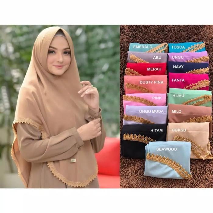 Foto Produk Khimar Fatimah Renda Bahan Diamond georgette jilbab kerudung hijab Pet dari sakura fashion beauty