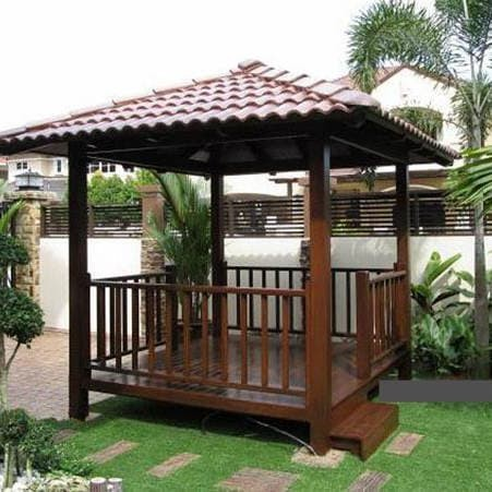 Jual Gazebo Taman Kolam Saung Modern Minimalis Kayu 2x2m Kab