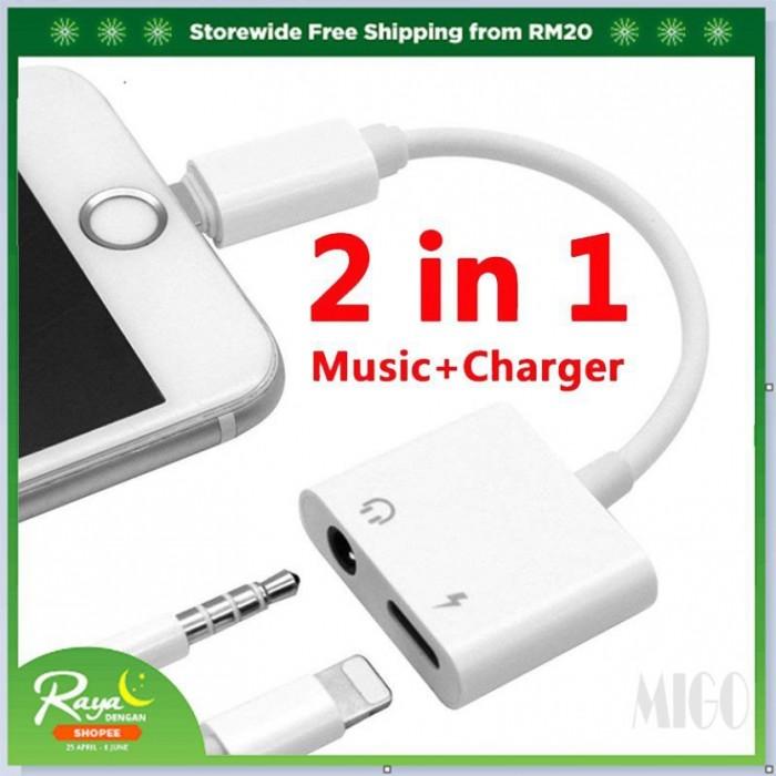 Foto Produk MIGO 2 In 1 3.5mm Audio   Adapter Untuk Apple Iphone Plus dari RiverView Store