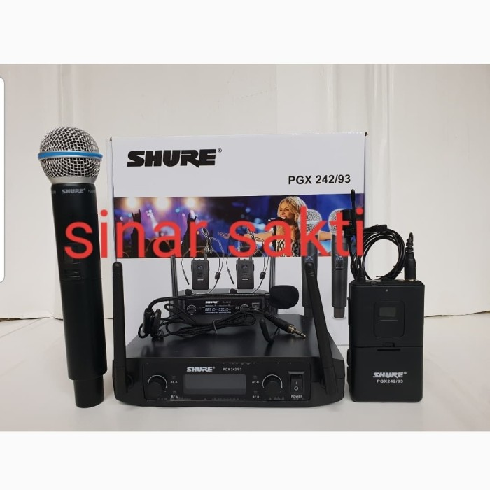 harga Mic wireless shure pgx 242 ( handheld + clip on + headset ) Tokopedia.com