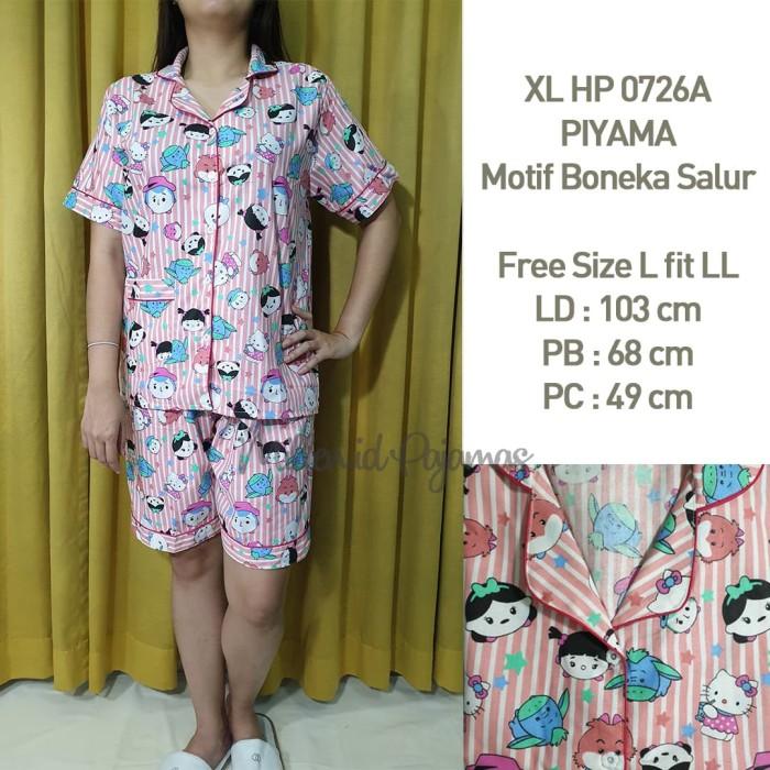 Foto Produk Piyama Size L Wanita Baju Tidur Salur Boneka Motif Katun XLHP 0726AB dari Millen Collection