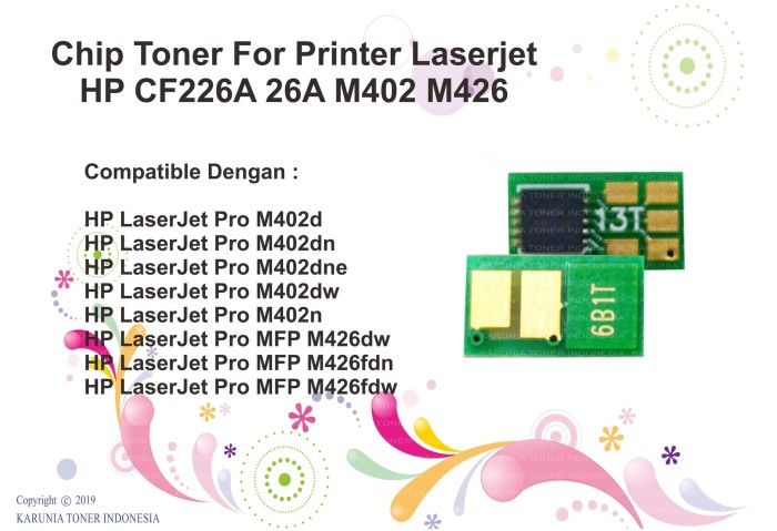 harga Chip toner cartridge cf226a (26a) for use laserjet printer pro m402dn Tokopedia.com