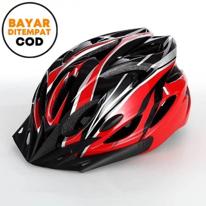 harga Techdoo helm sepeda gunung balap unisex shockproof dengan visor os103 - biru hitam Tokopedia.com