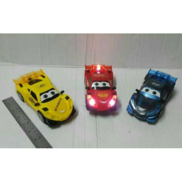 jual mainan mobil baterai cars 3 lightning mcqueen dinoco