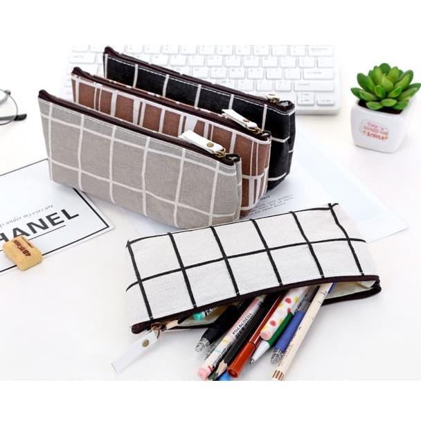 Foto Produk TP0042 Tempat Pensil Korea Lattice Pattern / Tempat Kosmetik - Cokelat dari EnnWen Online Store