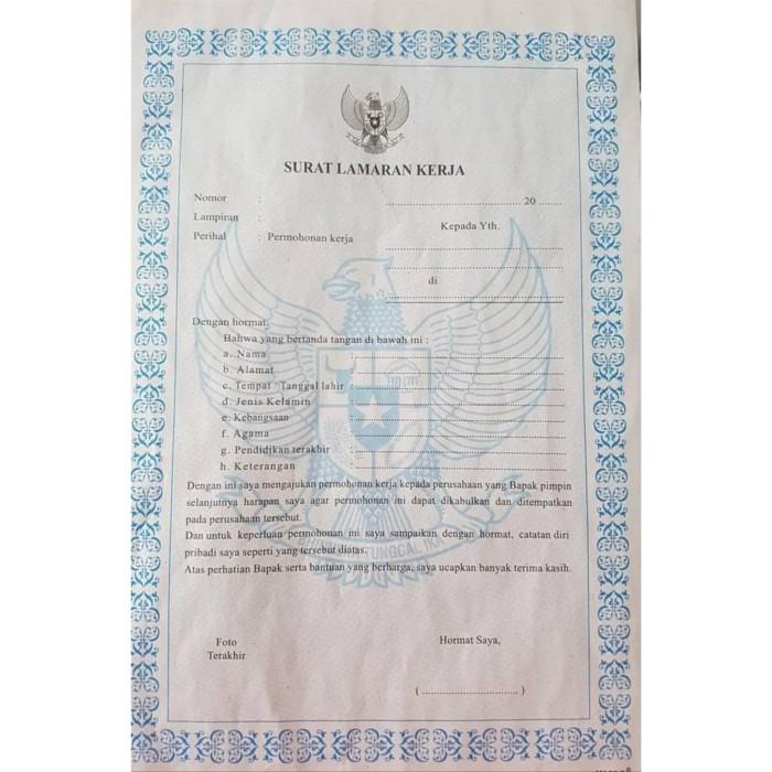 Jual Blangko Surat Lamaran Kerja Kertas Form Surat Lamaran