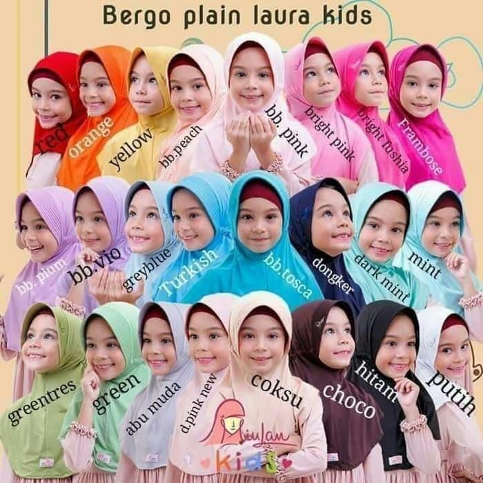 Foto Produk Hijab jilbab anak sekolah bergo plain laura kids miulan dari Rosita online shop