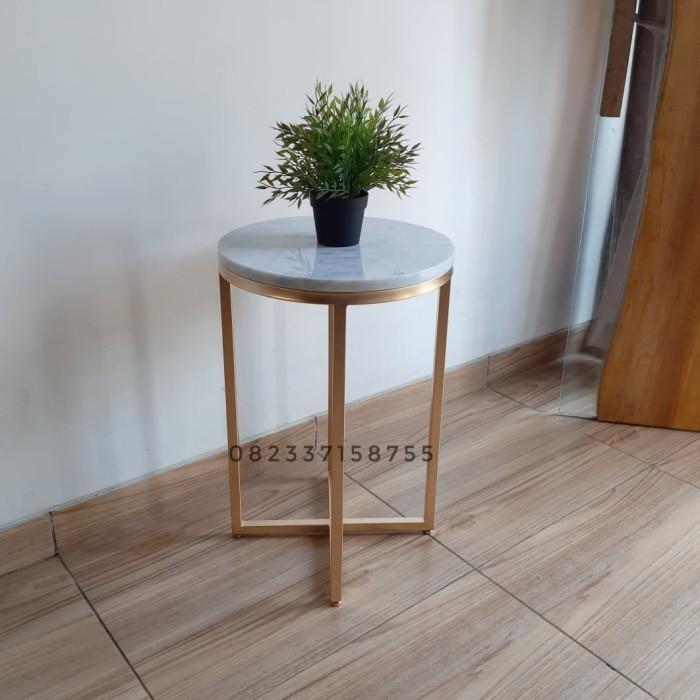 Jual Meja Sudut Corner Table Terlaris Top Marmer Kaki Besi Model Silang Kab Jepara Mr Furniture Design Tokopedia