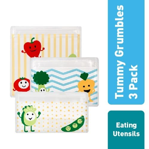 Dr.brown's tummy grumbles reusable snack bags 3-pack