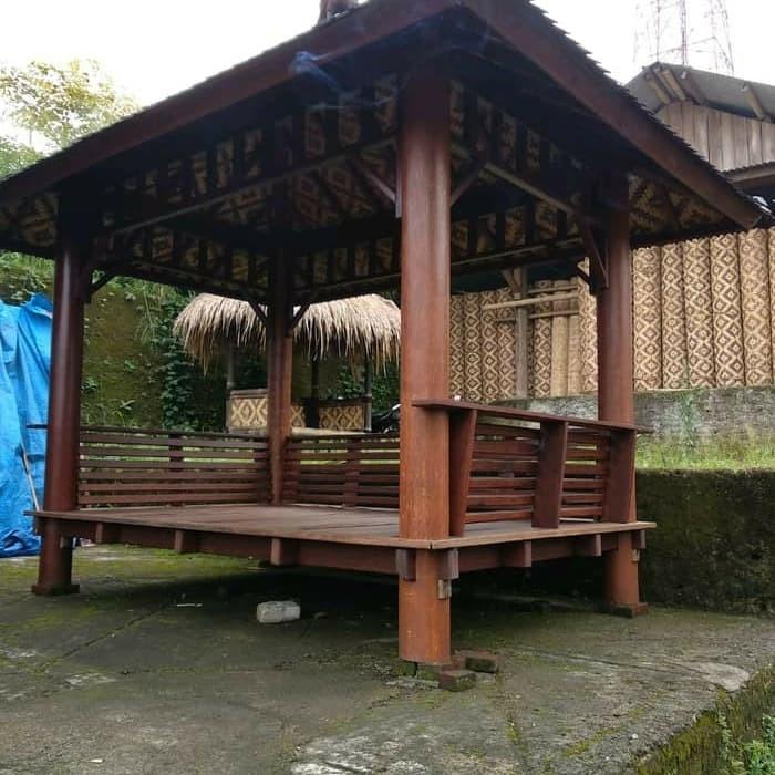 Jual Saung Gazebo Kayu Kelapa Ukuran 2 X 2 Meter Untuk Jabodetabek