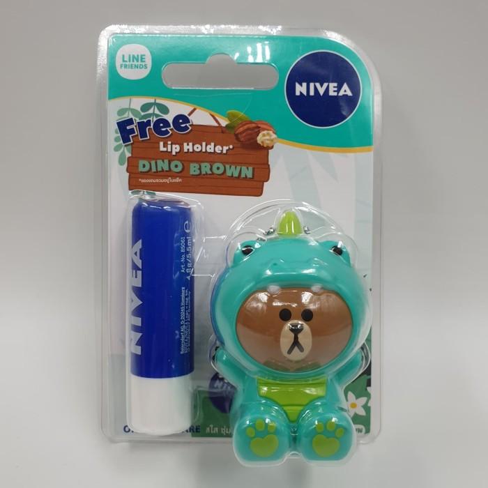 Foto Produk NIVEA X LINE Friends Lip Balm Holder - Jungle Dino Brown Original Care dari Funtasticland