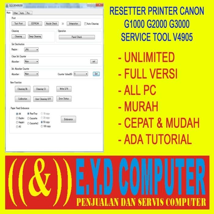 Jual RESSETER CANON G1000 G2000 G3000 ALL PC UNLIMITED RESET RESETTER -  Kab  Lampung Utara - TOKO EYD COMPUTER | Tokopedia