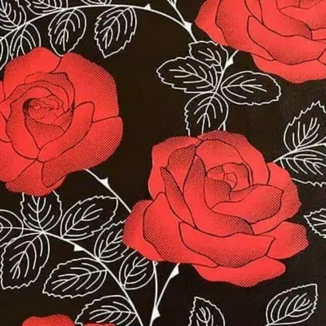 Jual Grosir Murah Wallpaper Stiker Dinding Hitam Bunga Mawar Merah