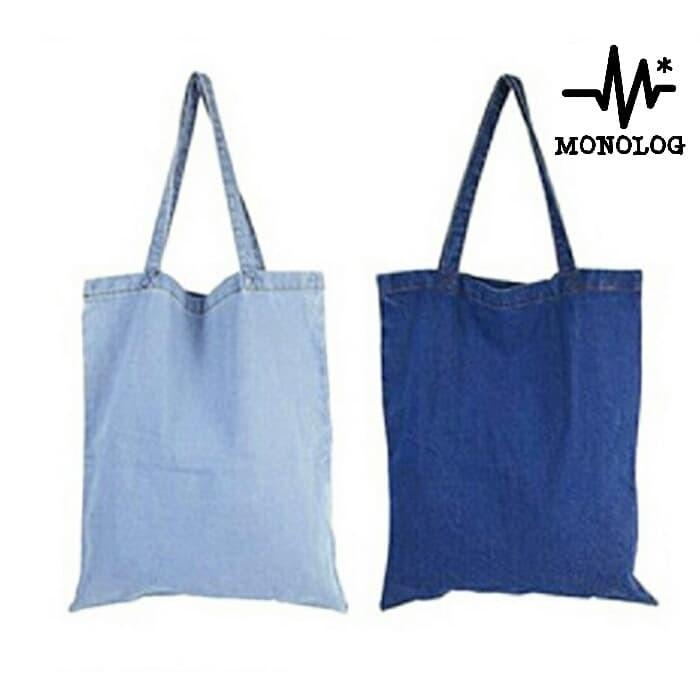 Foto Produk MONOLOG 30x35 Heavy Denim Canvas Tote bag Shopping Tas Kanvas Jeans dari MONOLOG Bdg