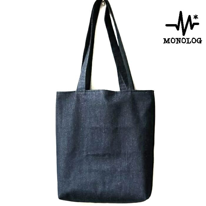 Foto Produk MONOLOG 35x45 Cotton Denim Canvas Tote bag Shopping Tas Kanvas Jeans dari MONOLOG Bdg