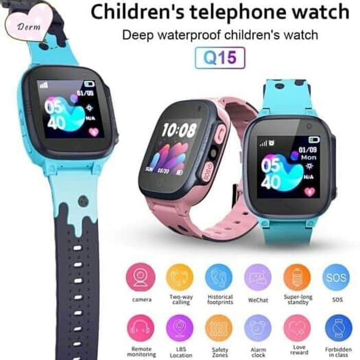 Foto Produk jam tangan anak imo Q15 / jam handphone smart watch kids - PINK,BIRU dari MS online88