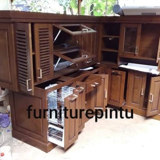 Jual Kitchen Set Minimalis Kayu Jati Lemari Dapur Kab Jepara Podium Minimalis Tokopedia