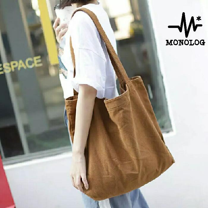 Foto Produk MONOLOG 45x45x6 PREMIUM Large Canvas Tote bag Shopping Tas Kanvas Big dari MONOLOG Bdg