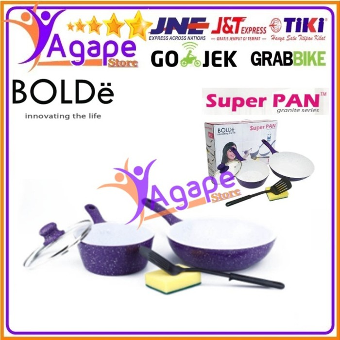 Foto Produk BOLDe Super Pan Granite Set Purple Panci Ceramic Set 5 Pcs home equipm dari yantin10