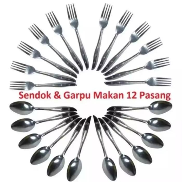 Foto Produk set sendok + garpu makan stainles 24 pcs dari jay acc