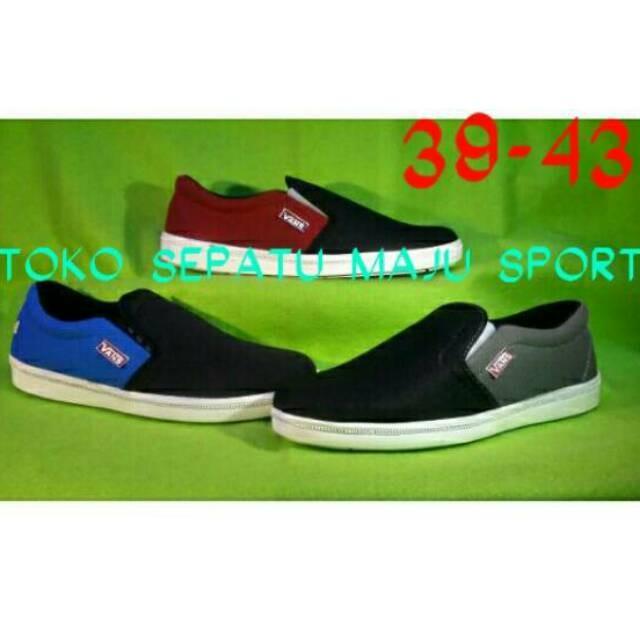 Jual Sneakers Casual Pria Sepatu Vans Clasik Sorong Slip On Casual