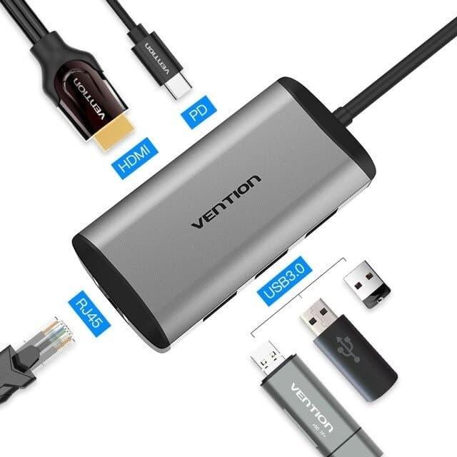 Foto Produk Vention CNC 6in1 Adapter Thunderbolt 3.0 USB C to HDMI RJ45 USB 3.0 PD dari Vention Indonesia