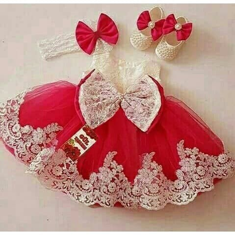 harga [dress princess red ve]dress anak perempuan brukat merah Tokopedia.com