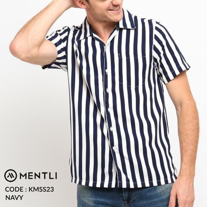 harga Mentli kemeja pria casual stripe garis original pendek - xl Tokopedia.com