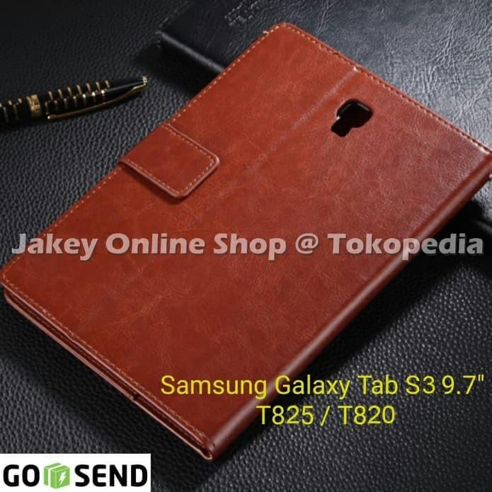 Foto Produk Samsung Galaxy Tab S3 9.7 inc T825 T820 FLIP COVER WALLET leather case - Hitam dari Jakey Online Shop