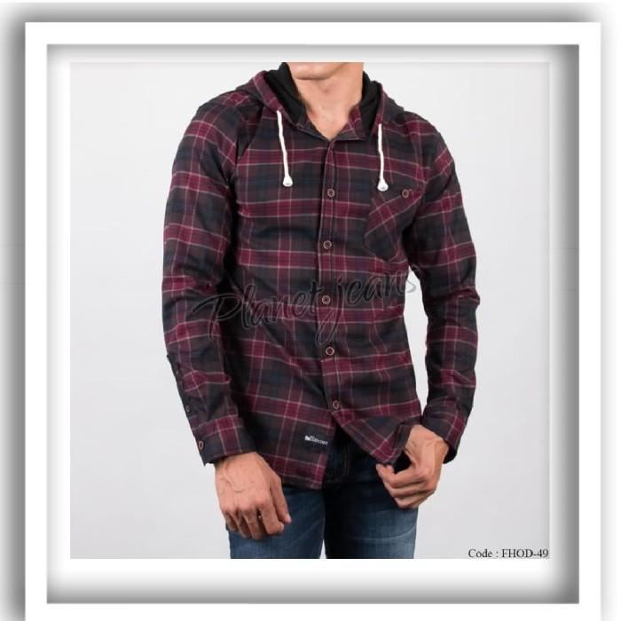 Foto Produk Baju kemeja pria flanel hoodie kupluk model jaket sweater cowo FHD45 dari dibyogrosirrr