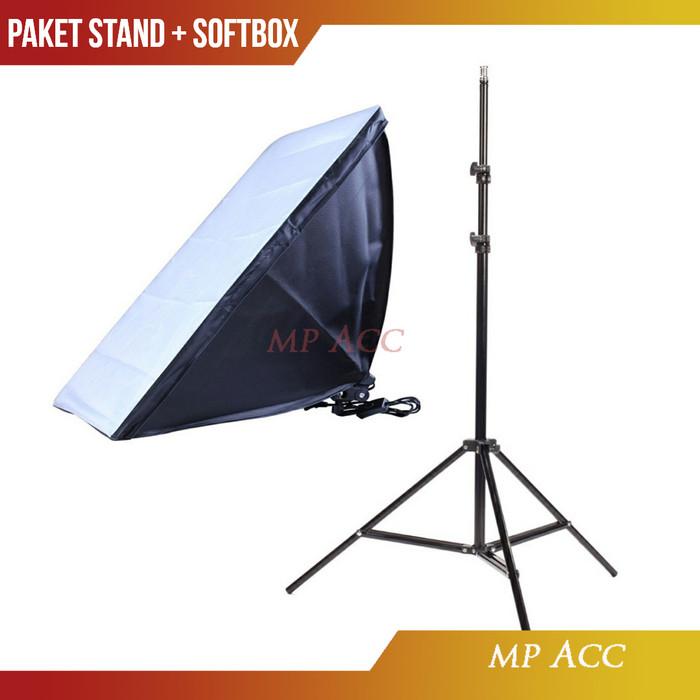 Foto Produk Paket Payung Softbox Reflektor 50x70cm E27 Single Lamp Socket n Stand dari aksesoris-iPhone