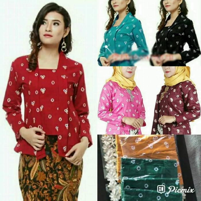 Foto Produk M L XL Kebaya Batik Kutubaru Jumputan Kembang Maroon Pink Kuning - Merah dari palastri shop