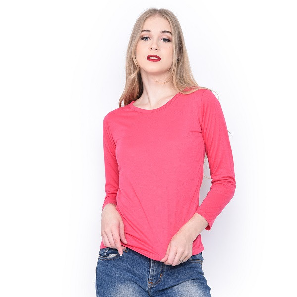 Foto Produk MOSIRU Kaos Wanita Baju Oblong Termurah Tumblr Tee O-Neck Panjang - Merah Muda dari Mosiru Official Store