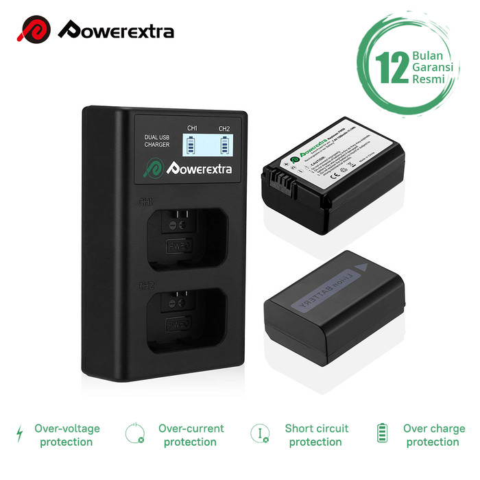 Foto Produk Powerextra Battery (2-Pack) Sony NP-FW50 and Smart Dual Charger LCD dari Powerextra Indonesia