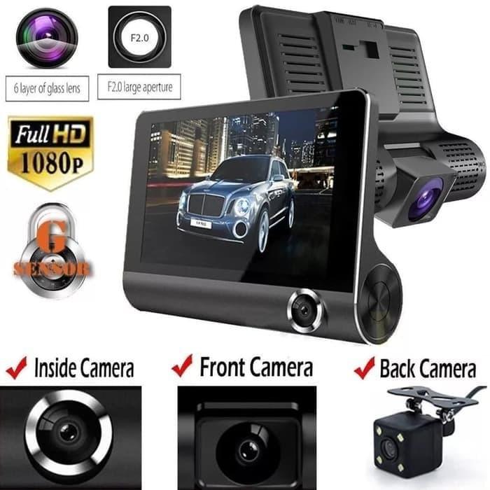 harga Dashcam 4 inc cctv mobil 3 lensa 1080p full hd kamera mundur parkir Tokopedia.com