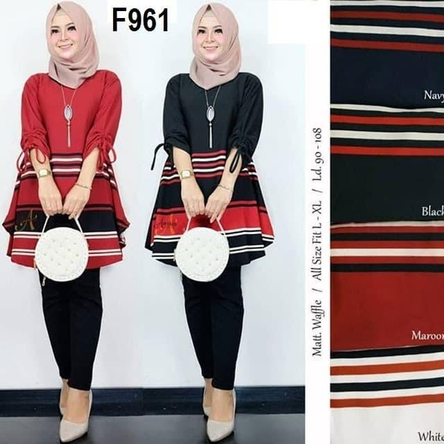 Foto Produk F961 TUNIK Waffle Lemon SKin Teball baju atasan wanita muslim garis dari TOKO BAJU ANDINIA
