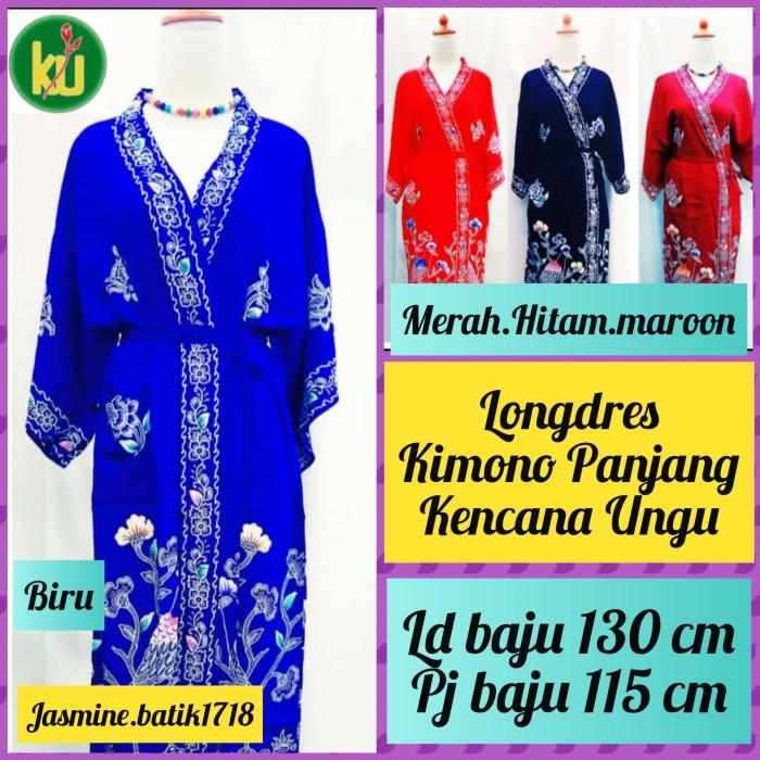 Foto Produk LONGDRES KIMONO PANJANG KENCANA UNGU dari jasmine.batik1718