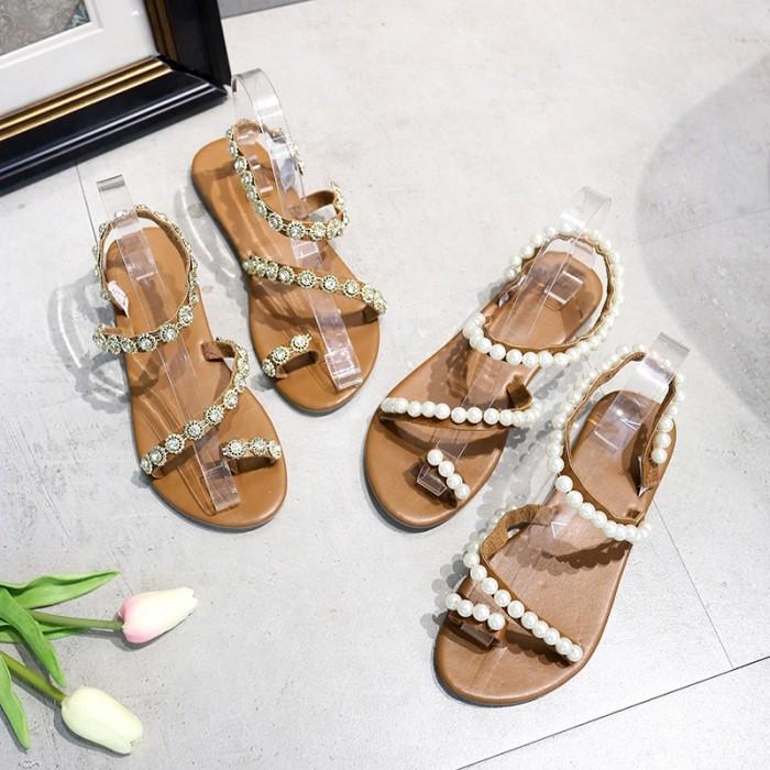 Jual Women S Summer Flat Sandals Fashion Rhinestone Sandals Jakarta Barat Esmeraldadisney Tokopedia