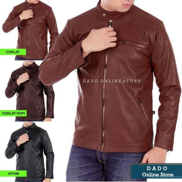 Foto Produk TERMURAH!!! Jaket Semi Kulit Pria Casual  Jaket Sintetis - Coklat, L dari Dado