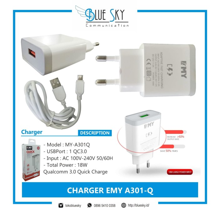 Foto Produk CHARGER FAST CHARGING EMY A301Q 1 PORT USB MURAH MICRO dari Blue Sky Communication