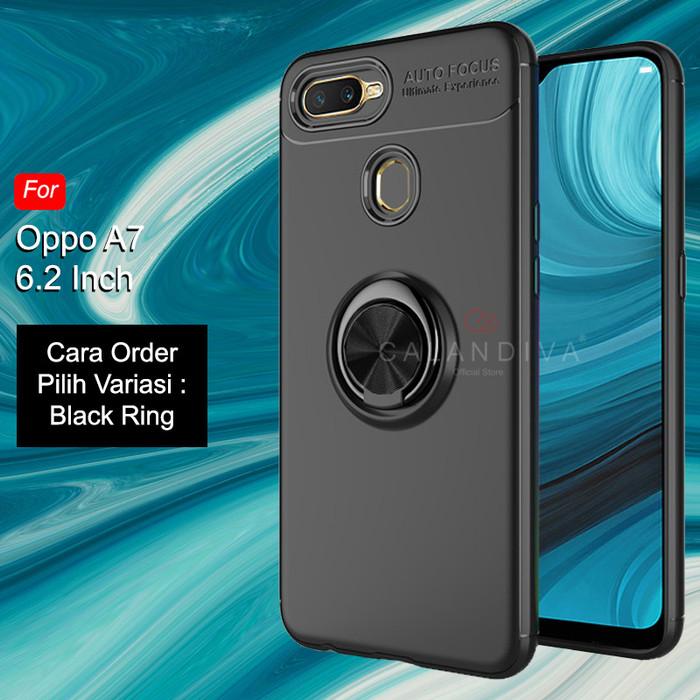 Foto Produk Calandiva Soft Case Oppo A7 (6.2 Inch) Casing Ultimate Ring Kickstand - Black Ring dari Calandiva Official Store