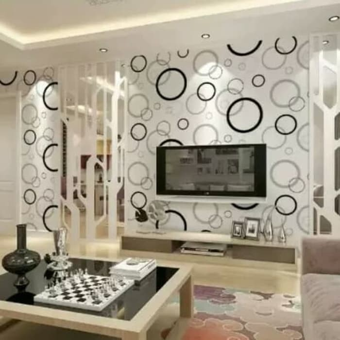 Jual Wallpaper Dinding Rumah Minimalis Ruang Tamu Dekorasi Bubble Black Kota Tangerang Selatan Deden Interior Exterior Tokopedia