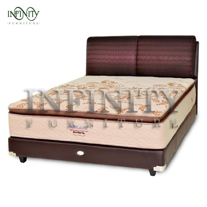 Jual Big Land Spring Bed Silver Pillow Top 160 Full Set Kota