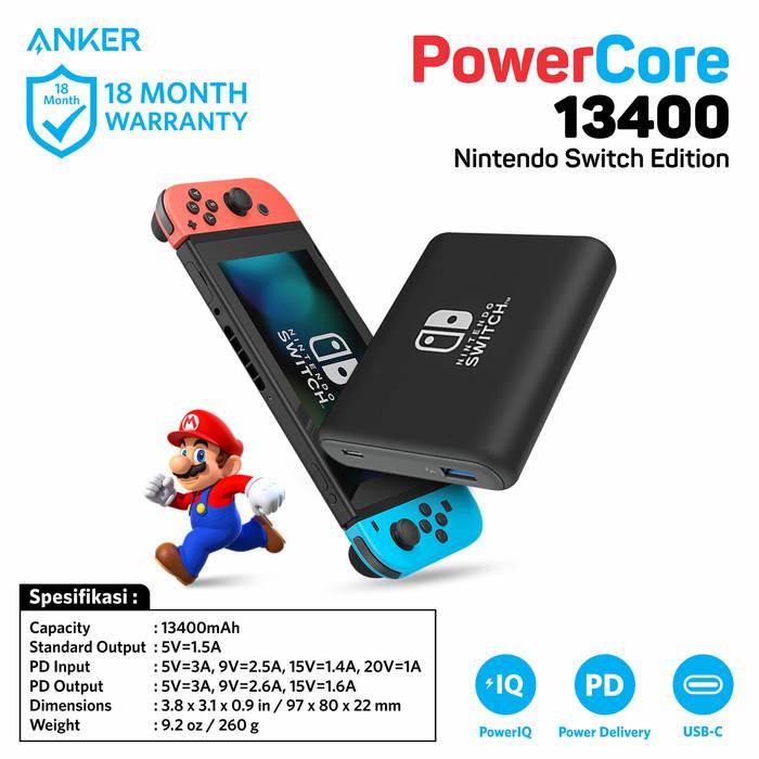 Powerbank anker powercore nintendo switch edition pd 13400 black a1241